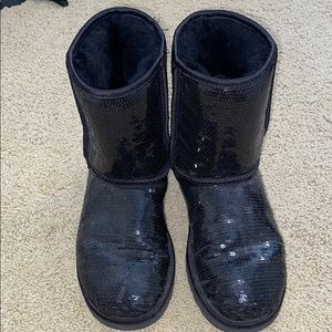 Black sequin ugg boots